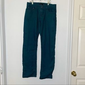 Prana Flannel Lined Teal Soft Denim Boyfriend Pants Jeans